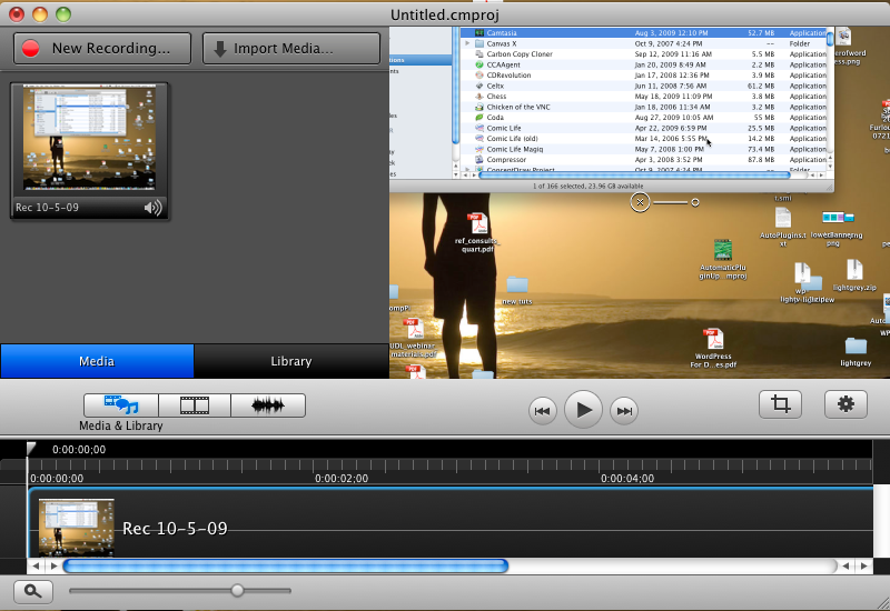 Camtasia clean editing interface.